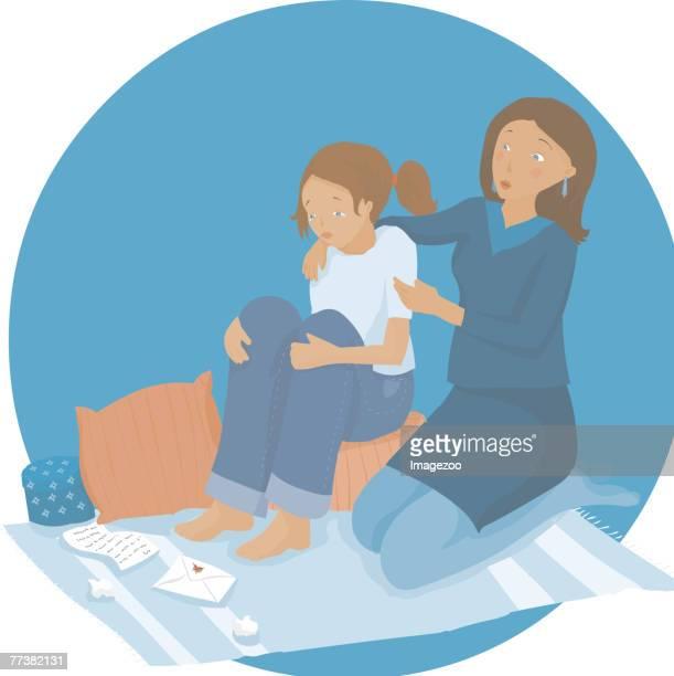 ilustraciones, imágenes clip art, dibujos animados e iconos de stock de woman consoling her daughter - madre e hija