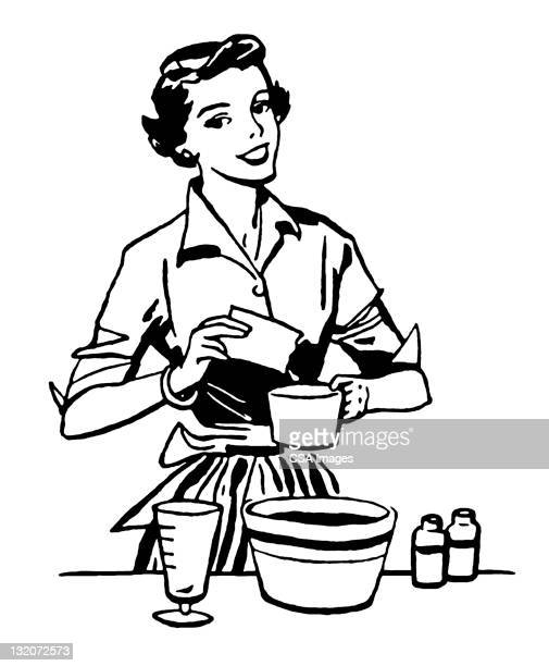 woman cooking - stereotypical homemaker stock illustrations