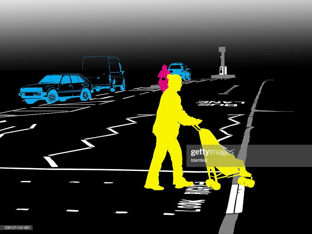 Woman crossing road with child in buggy : stock illustration