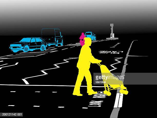 Woman crossing road with child in buggy
