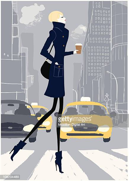 woman crossing street - zebra crossing stock illustrations
