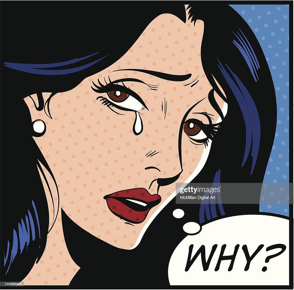 Woman crying : Illustrazione stock