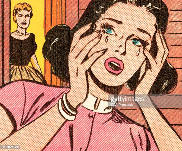 woman crying - disappointment stock illustrations