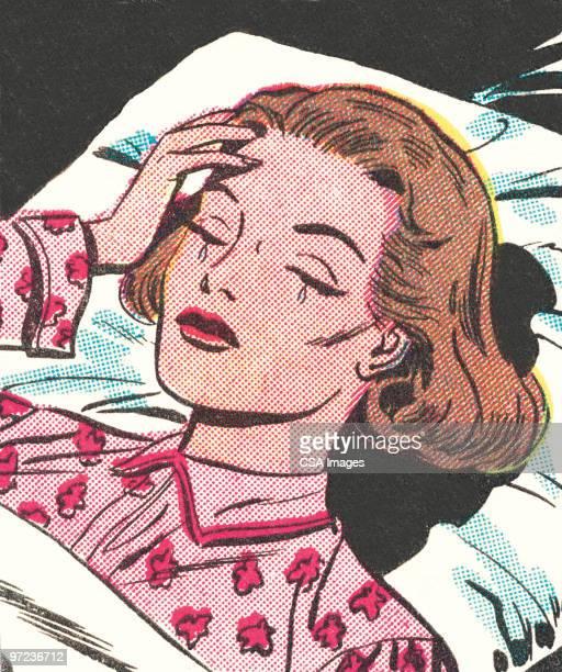 woman crying - teardrop stock illustrations