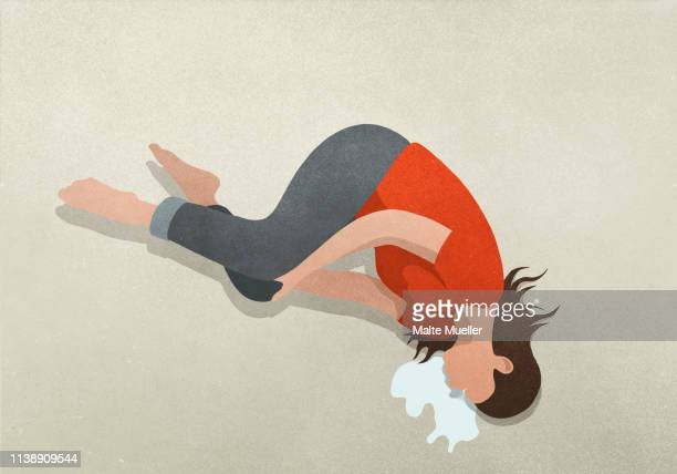 woman crying over spilled milk - vomit stock illustrations