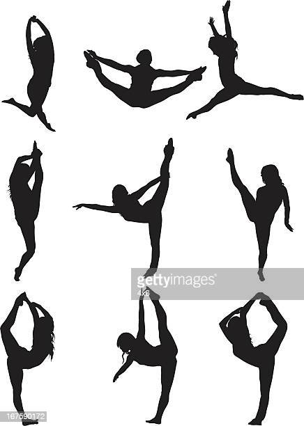 woman dancing - gymnastics stock illustrations, clip art, cartoons, & icons