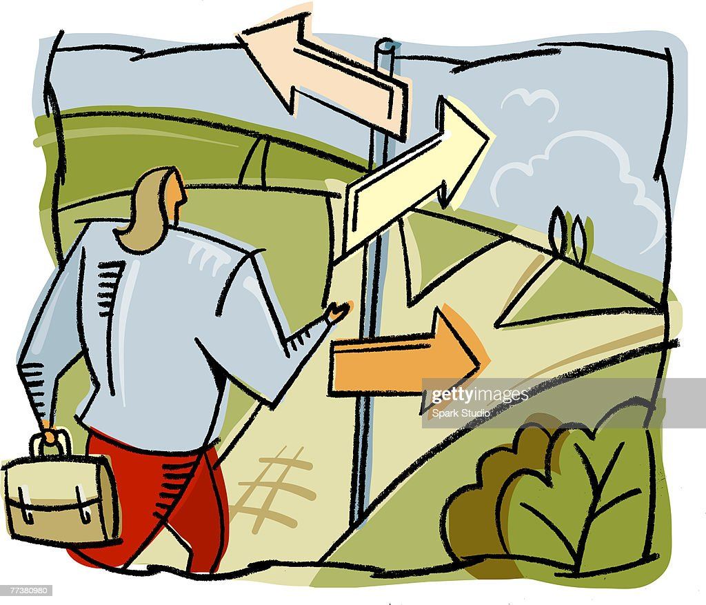 A woman deciding which path to take : Illustration