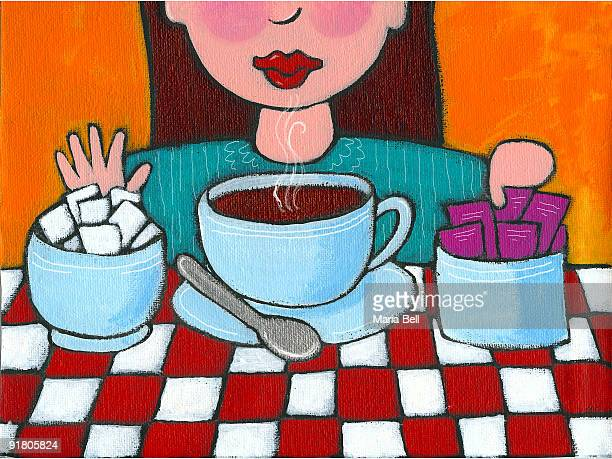 a woman declining sugar and opting for sweetener for her coffee - sugar cube stock illustrations, clip art, cartoons, & icons