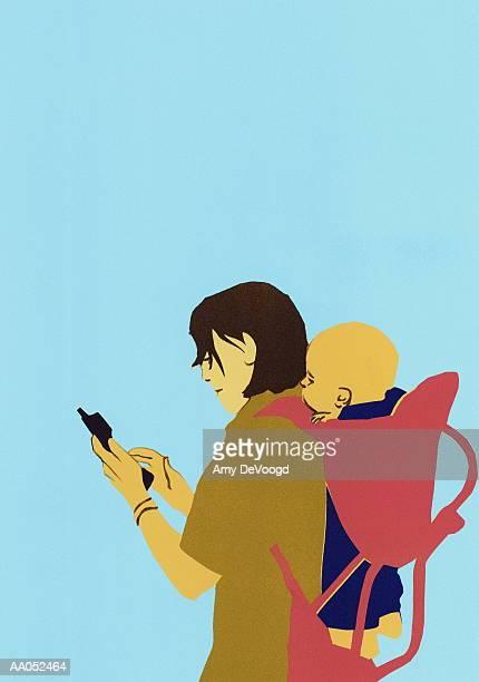 ilustraciones, imágenes clip art, dibujos animados e iconos de stock de woman dialing cell phone, infant (3-6 months) in baby carrier on back - mujeres de mediana edad