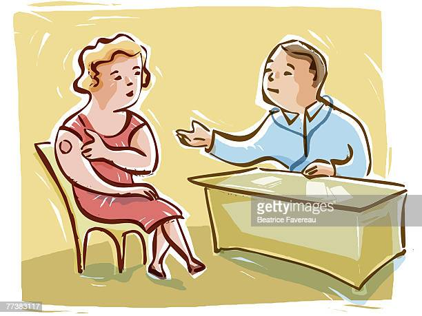 woman discussing hormone replacement with her doctor - menopause stock illustrations, clip art, cartoons, & icons