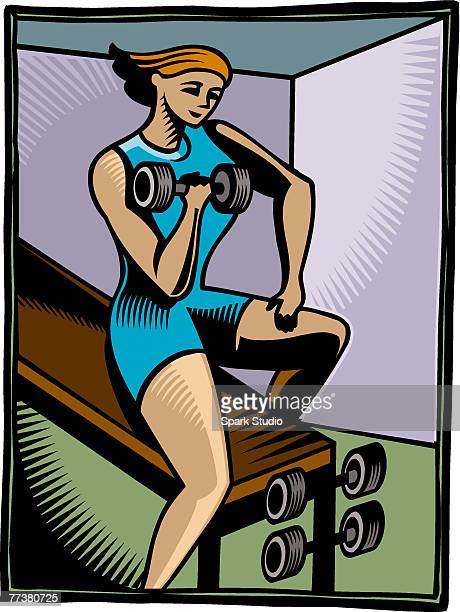 a woman doing weight training - anaerobic stock illustrations, clip art, cartoons, & icons