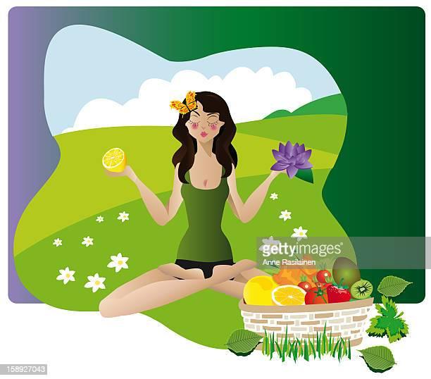 ilustrações de stock, clip art, desenhos animados e ícones de a woman doing yoga while holding a flower and fruit - cesta de fruta