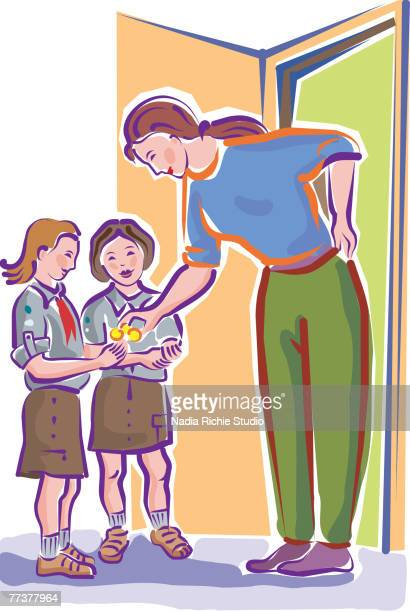 a woman donating to a charity - brownie stock illustrations, clip art, cartoons, & icons