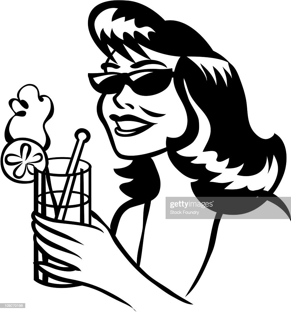 a woman drinking a beverage with a lemon on the side ストック