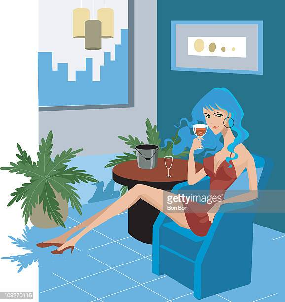 a woman drinking a glass of wine - ice bucket stock illustrations, clip art, cartoons, & icons