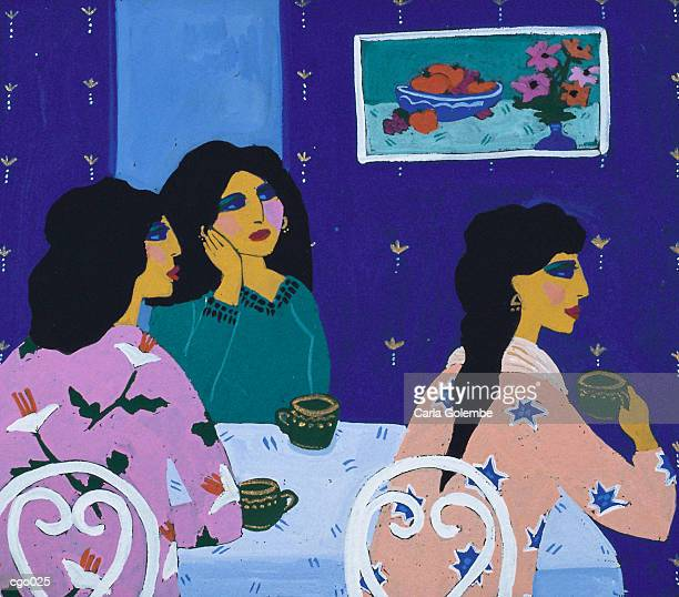 woman drinking coffee - female friendship stock illustrations