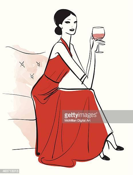 woman drinking glass of wine - updo点のイラスト素材/クリップアート素材/マンガ素材/アイコン素材
