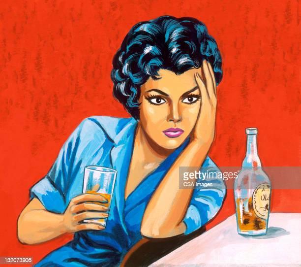 frau trinkt spirituosen - alkoholisches getränk stock-grafiken, -clipart, -cartoons und -symbole