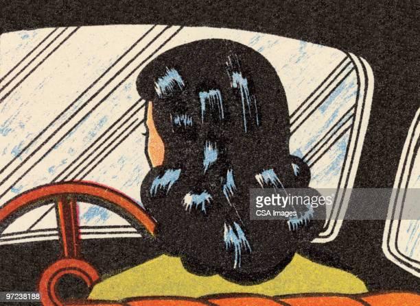 illustrazioni stock, clip art, cartoni animati e icone di tendenza di woman driving - fumetto creazione artistica