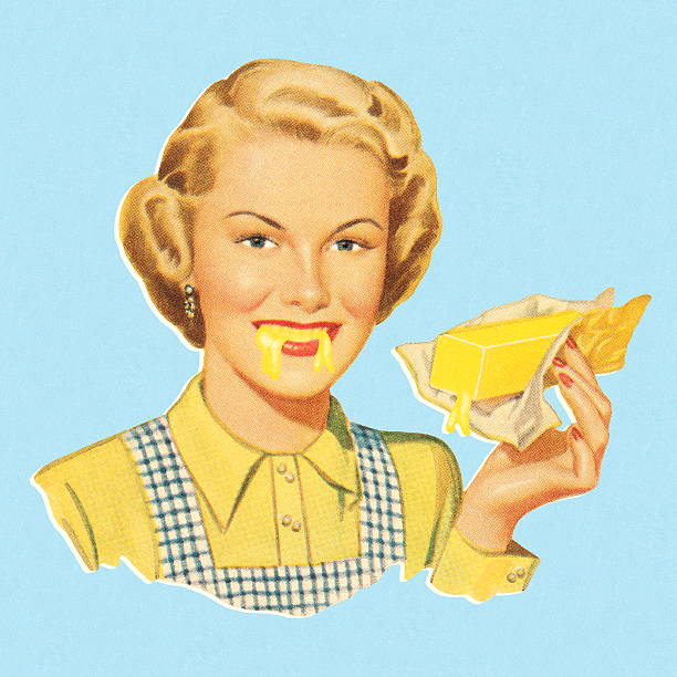 woman eating butter - melting stock illustrations