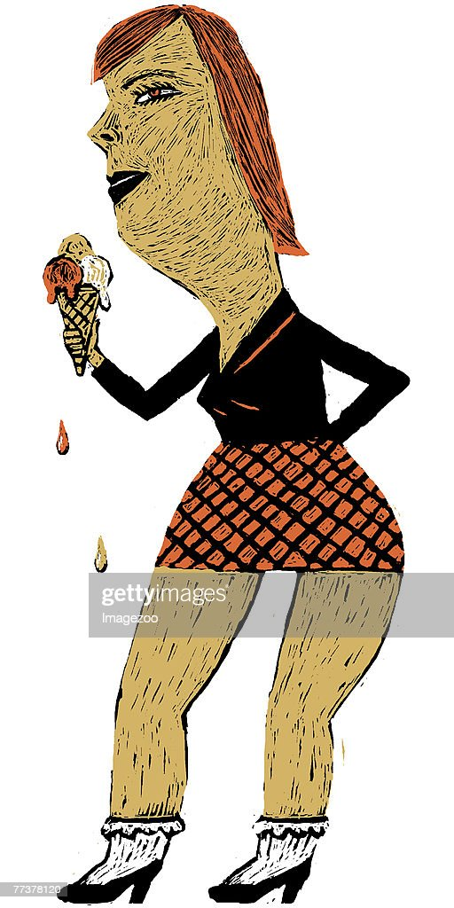 woman eating ice cream : Illustration