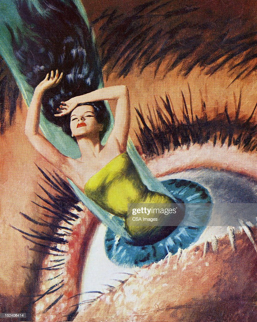 Woman Emerging From Woman's Eye : stock illustration