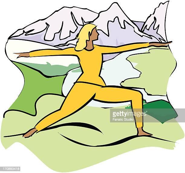 ilustraciones, imágenes clip art, dibujos animados e iconos de stock de woman exercising on a landscape - educacion fisica