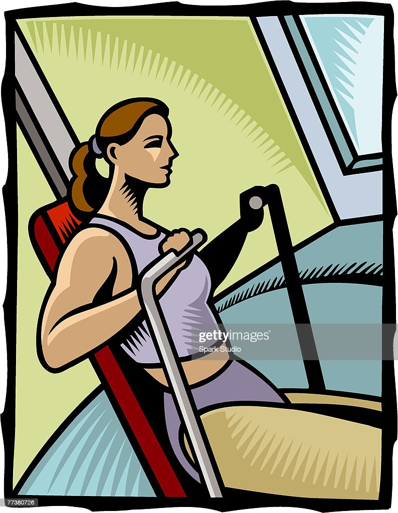 A woman exercising on a rowing machine : Illustration