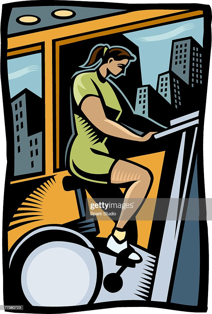 A woman exercising on an exercise bike : Illustration