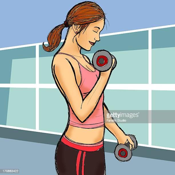 ilustraciones, imágenes clip art, dibujos animados e iconos de stock de woman exercising with dumbbells - educacion fisica