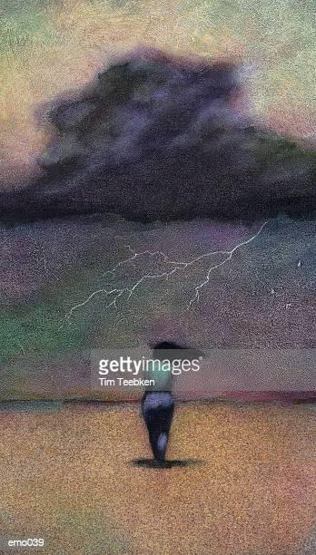 Woman Facing Storm