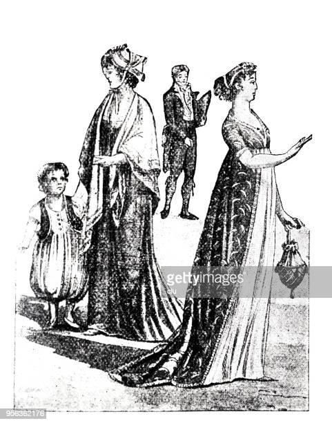 およそ 1800 年の女性ファッション - 1800~1809年点のイラスト素材/クリップアート素材/マンガ素材/アイコン素材