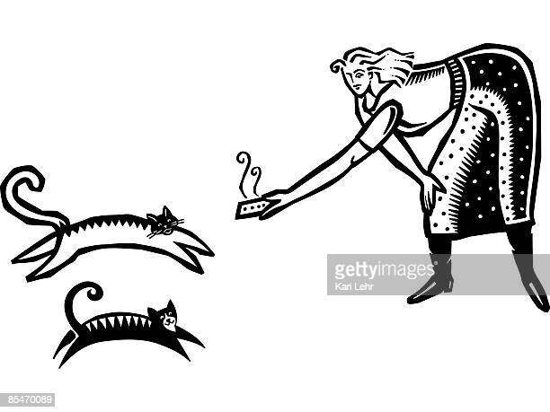 a woman feeding two cats - cat food stock illustrations