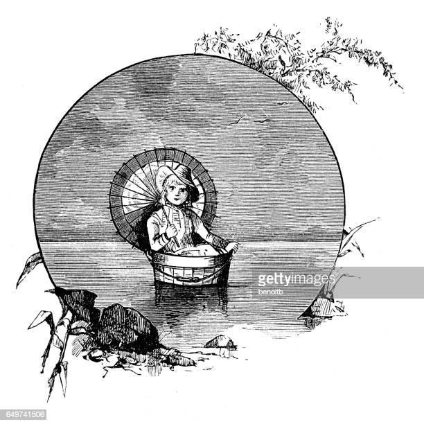 Woman floating in a bucket