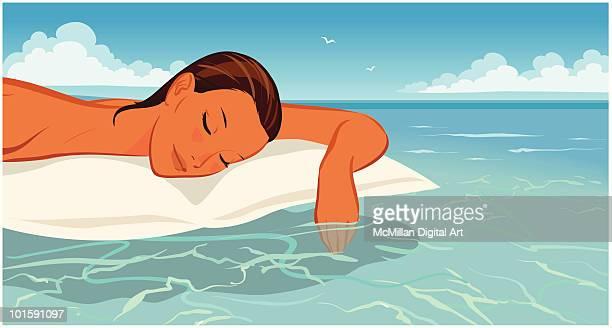illustrations, cliparts, dessins animés et icônes de woman floating on air matress - matelas pneumatique