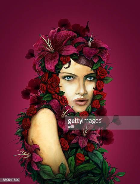 stockillustraties, clipart, cartoons en iconen met woman flowers portrait red background - attraktive frau