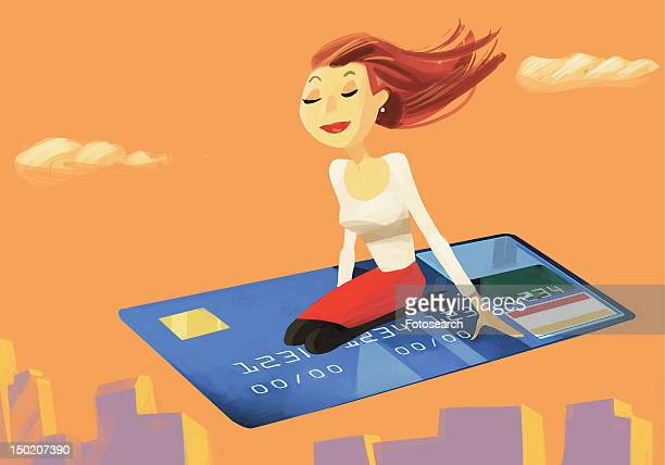 ilustraciones, imágenes clip art, dibujos animados e iconos de stock de woman flying on a credit card - capitalismo