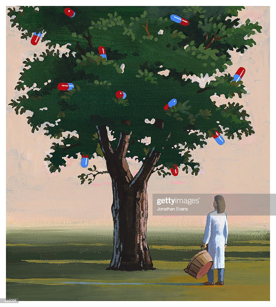 Woman Gathering Medications : Illustration