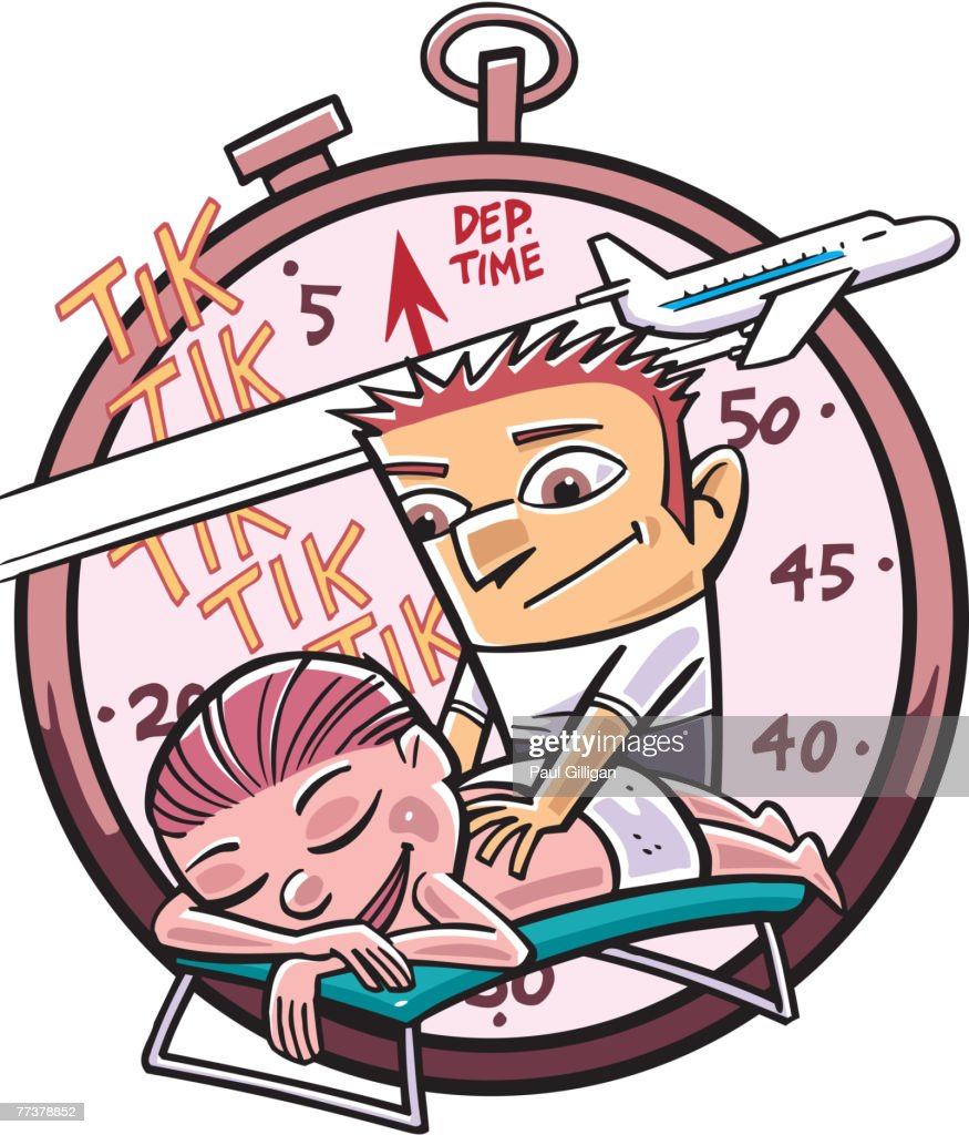 A woman getting a massage while waiting for her flight : Illustration