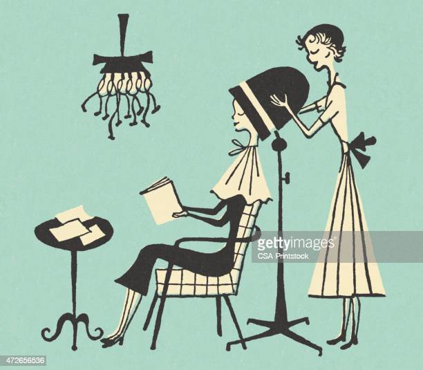 hair done getting blow drying illustrations beauty parlor woman clip cartoon cartoons dryer