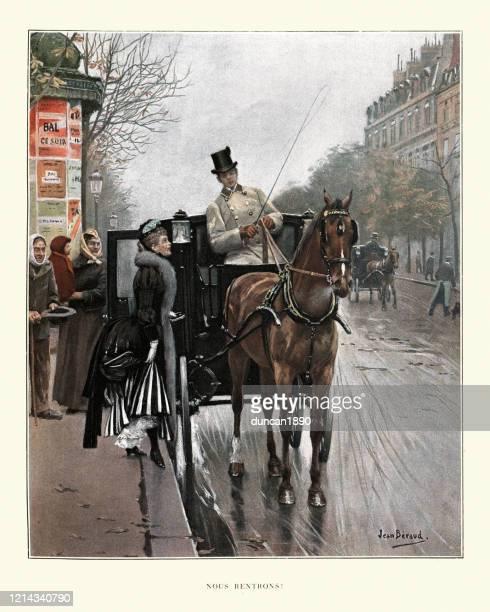 馬車に乗る女性、パリ、19世紀 - 四輪馬車点のイラスト素材/クリップアート素材/マンガ素材/アイコン素材