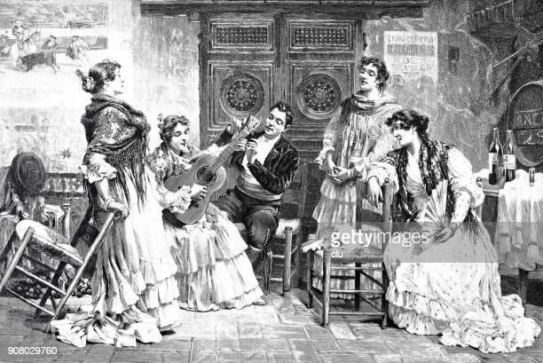 woman getting lessons in playing guitar - history stock illustrations, clip art, cartoons, & icons