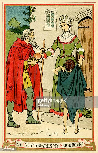 woman giving food and clothing to a man and boy - christianity stock illustrations