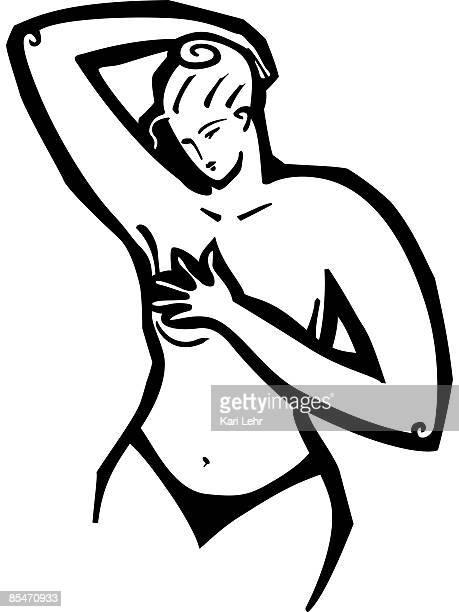 a woman giving herself a breast exam - マモグラフィー点のイラスト素材/クリップアート素材/マンガ素材/アイコン素材