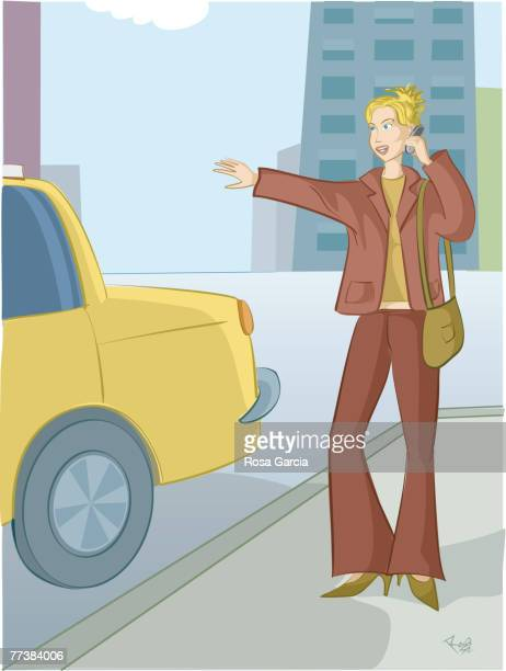 a woman hailing a taxi cab - updo stock illustrations, clip art, cartoons, & icons