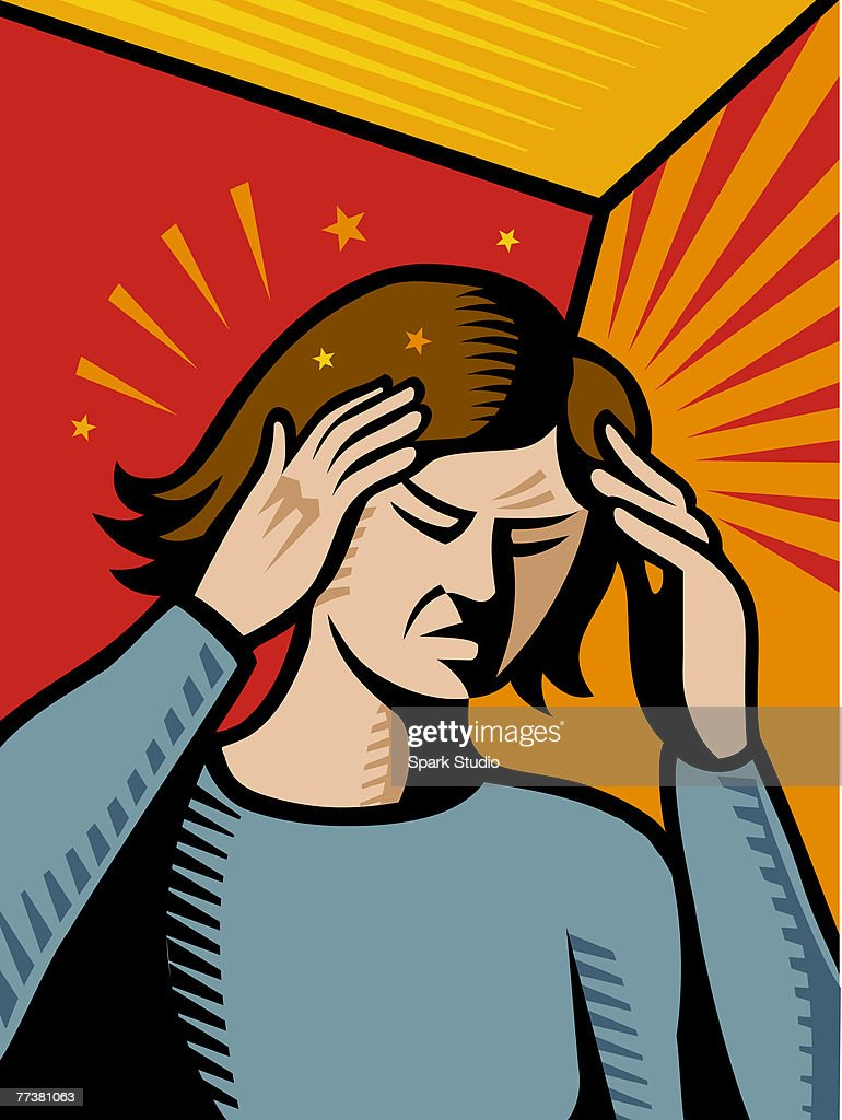 A woman having a bad migraine pain : Illustration