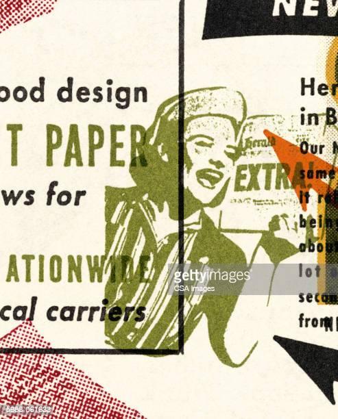 woman hawking newspaper - image stock illustrations