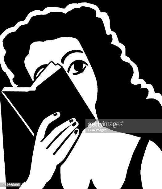 woman hiding behind book - report stock illustrations