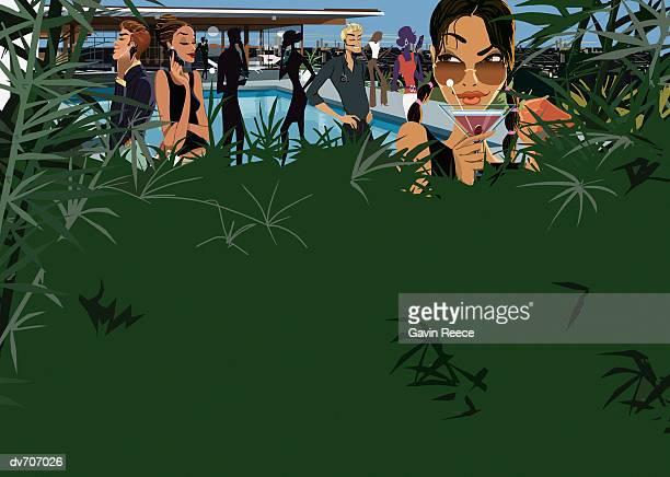 ilustraciones, imágenes clip art, dibujos animados e iconos de stock de woman hiding in vegetation at a party - pool party