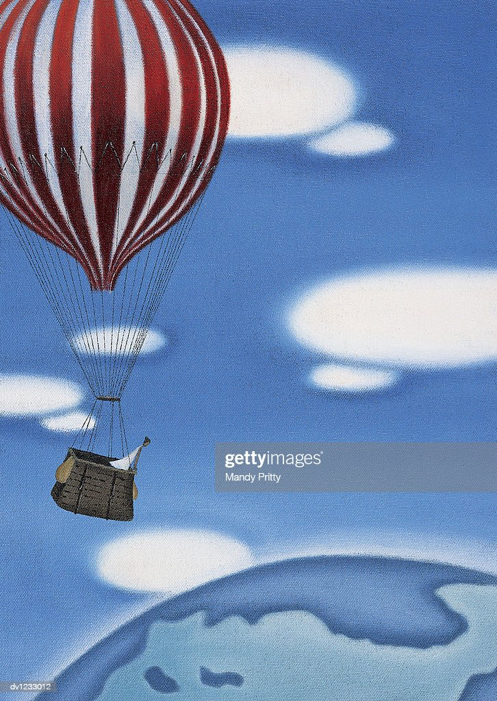 Woman High Up in a Hot Air Ballon Looking at the Earth : Stock Illustration